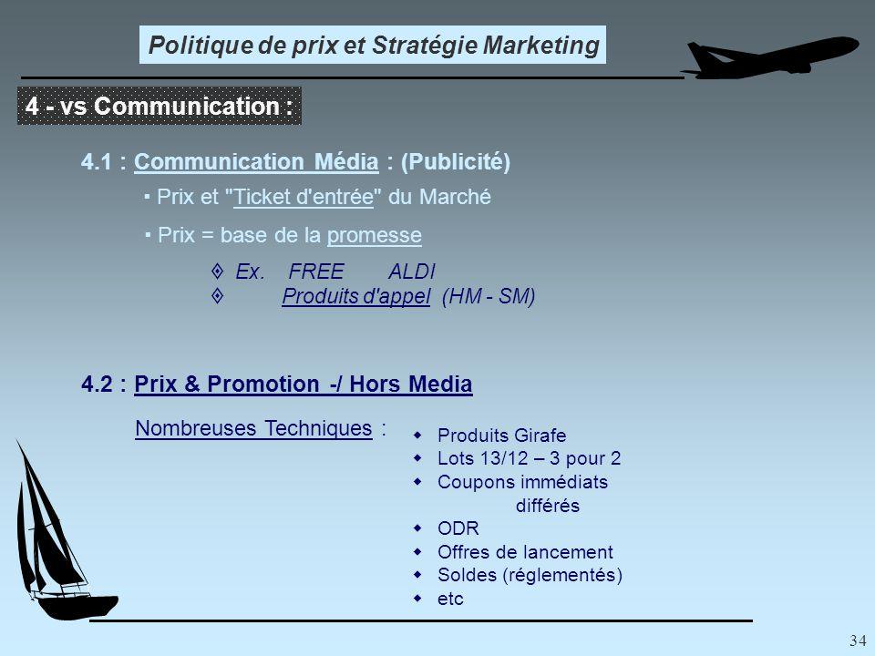 34 Politique de prix et Stratégie Marketing 4 - vs Communication : 4.1 : Communication Média : (Publicité)  Prix et Ticket d entrée du Marché  Prix = base de la promesse  Ex.