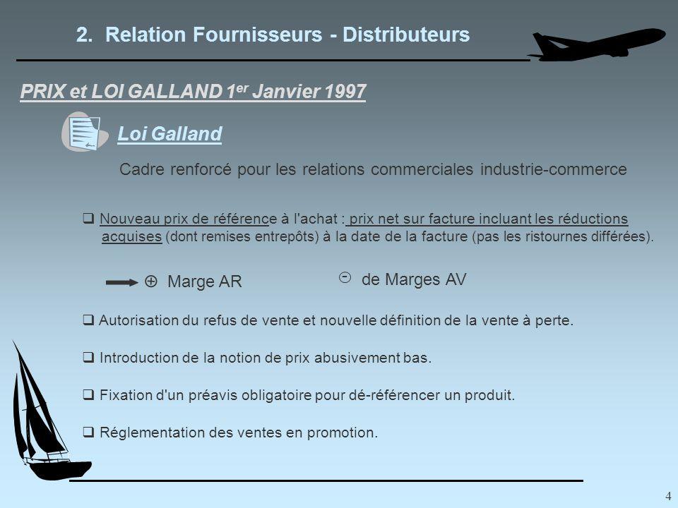 4 2. Relation Fournisseurs - Distributeurs PRIX et LOI GALLAND 1 er Janvier 1997 Loi Galland Cadre renforcé pour les relations commerciales industrie-