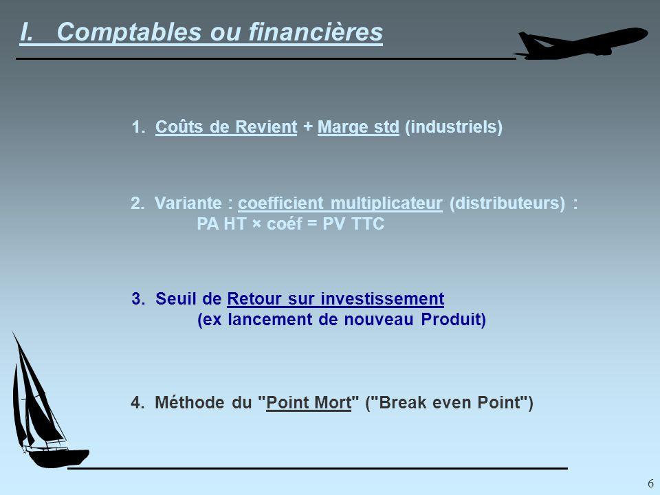 6 I. Comptables ou financières 1. Coûts de Revient + Marge std (industriels) 2.