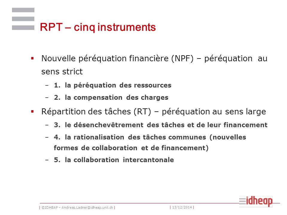 | ©IDHEAP – Andreas.Ladner@idheap.unil.ch | | 13/12/2014 | RPT – cinq instruments  Nouvelle péréquation financière (NPF) – péréquation au sens strict –1.