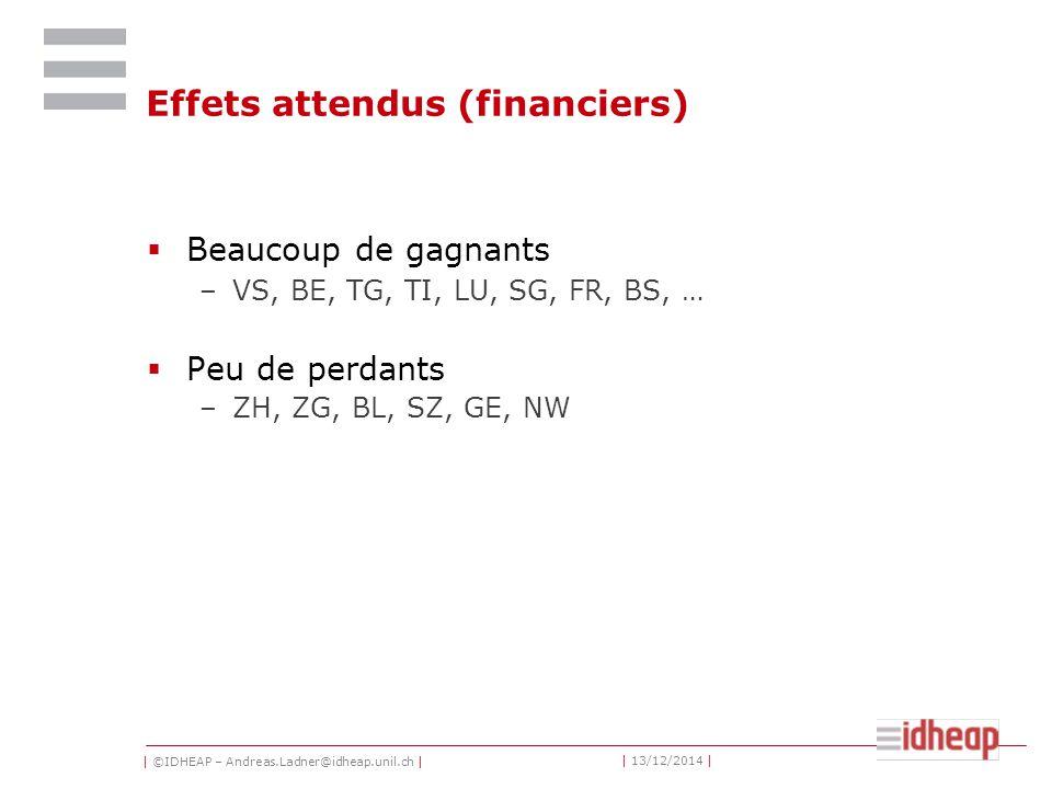 | ©IDHEAP – Andreas.Ladner@idheap.unil.ch | | 13/12/2014 | Effets attendus (financiers)  Beaucoup de gagnants –VS, BE, TG, TI, LU, SG, FR, BS, …  Pe