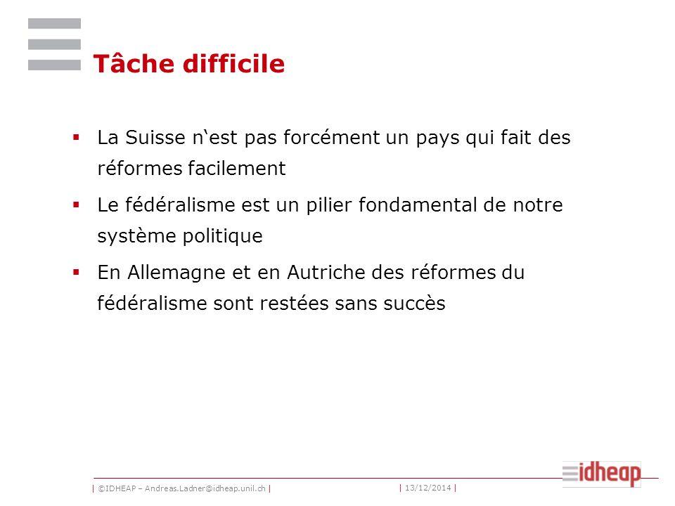 | ©IDHEAP – Andreas.Ladner@idheap.unil.ch | | 13/12/2014 | Tâche difficile  La Suisse n'est pas forcément un pays qui fait des réformes facilement  Le fédéralisme est un pilier fondamental de notre système politique  En Allemagne et en Autriche des réformes du fédéralisme sont restées sans succès