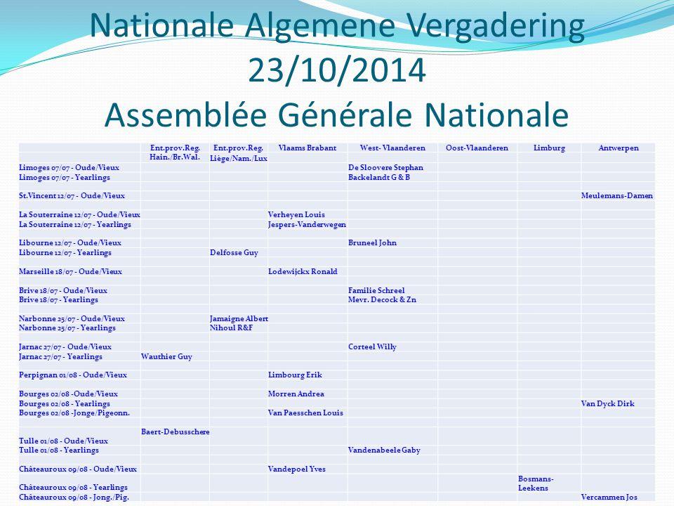Nationale Algemene Vergadering 23/10/2014 Assemblée Générale Nationale Ent.prov.Reg.