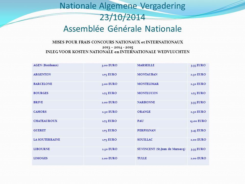 Nationale Algemene Vergadering 23/10/2014 Assemblée Générale Nationale MISES POUR FRAIS CONCOURS NATIONAUX et INTERNATIONAUX 2013 – 2014 - 2015 INLEG VOOR KOSTEN NATIONALE en INTERNATIONALE WEDVLUCHTEN AGEN (Bordeaux) 3,00 EURO MARSEILLE 3,35 EURO ARGENTON 1,75 EURO MONTAUBAN 2,50 EURO BARCELONE 5,00 EURO MONTELIMAR 2,50 EURO BOURGES 1,75 EURO MONTLUCON 1,75 EURO BRIVE 2,00 EURO NARBONNE 3,35 EURO CAHORS 2,50 EURO ORANGE 2,50 EURO CHATEAUROUX 1,75 EURO PAU 15,00 EURO GUERET 1,75 EURO PERPIGNAN 3,45 EURO LA SOUTERRAINE 1,75 EURO SOUILLAC 2,00 EURO LIBOURNE 2,50 EURO ST.VINCENT (St.Jean de Marsacq) 3,35 EURO LIMOGES 2,00 EURO TULLE 2,00 EURO