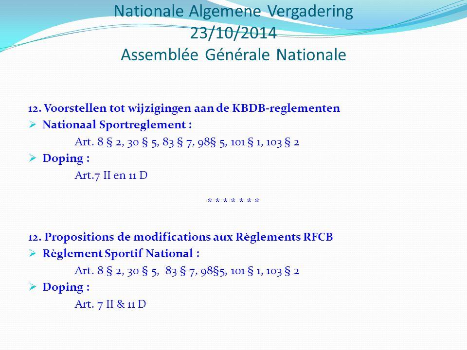 Nationale Algemene Vergadering 23/10/2014 Assemblée Générale Nationale 12.