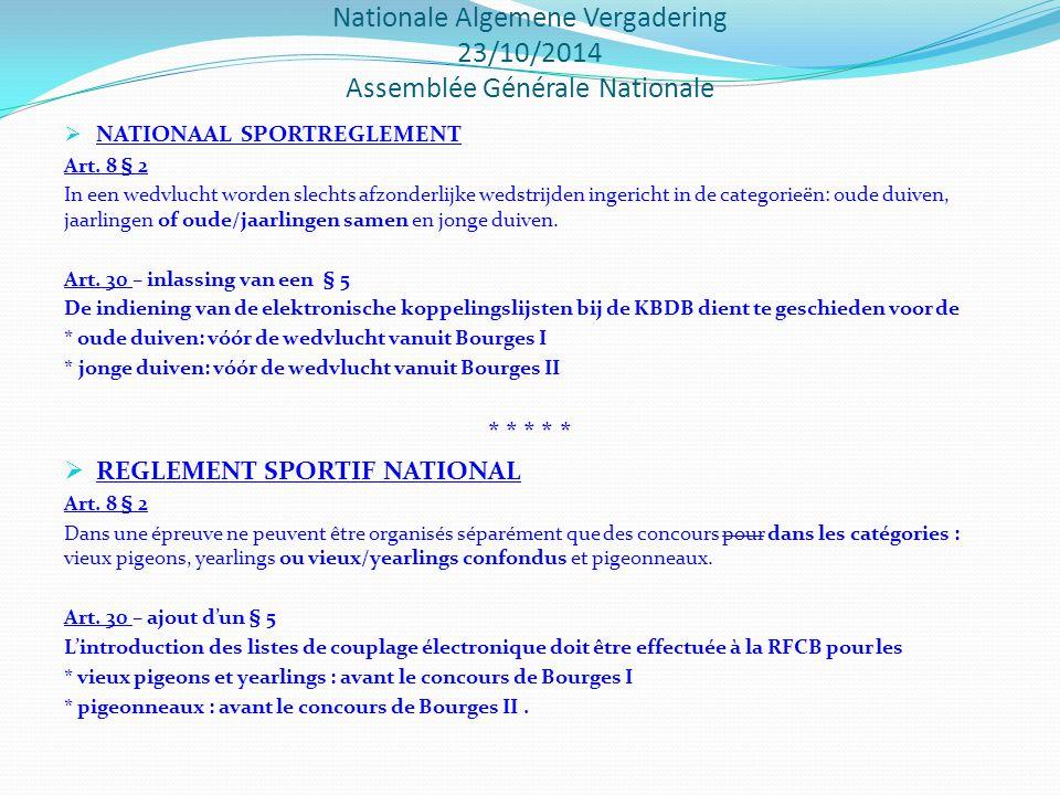 Nationale Algemene Vergadering 23/10/2014 Assemblée Générale Nationale  NATIONAAL SPORTREGLEMENT Art.