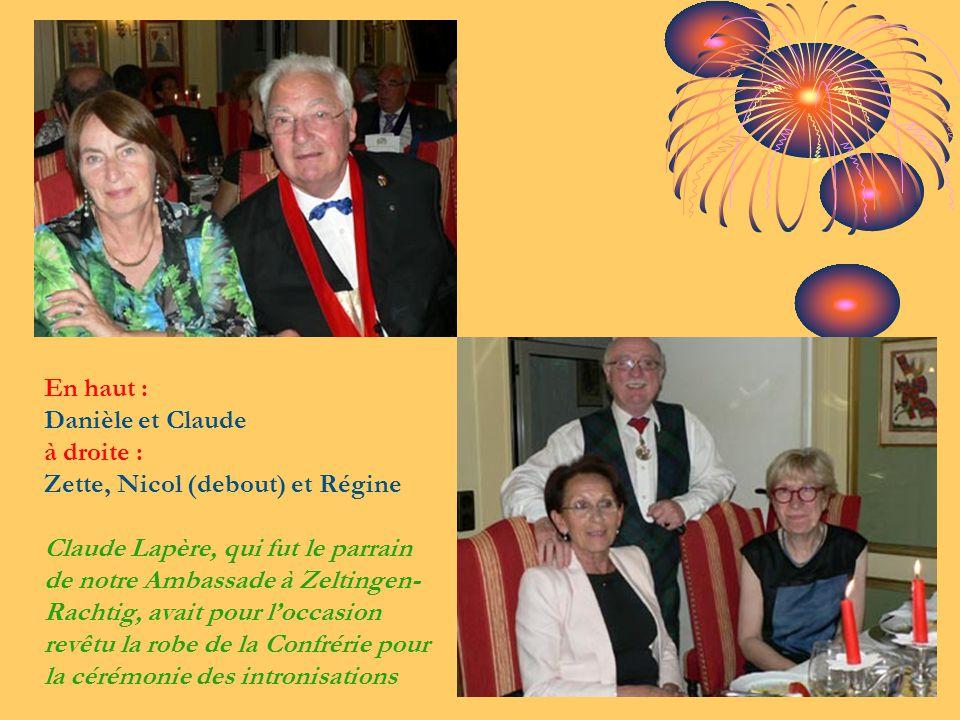 En haut : Danièle et Claude à droite : Zette, Nicol (debout) et Régine Claude Lapère, qui fut le parrain de notre Ambassade à Zeltingen- Rachtig, avai