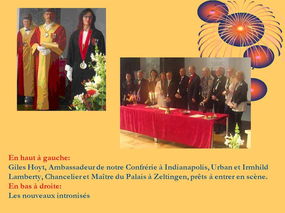 En haut à gauche: Giles Hoyt, Ambassadeur de notre Confrérie à Indianapolis, Urban et Irmhild Lamberty, Chancelier et Maître du Palais à Zeltingen, pr