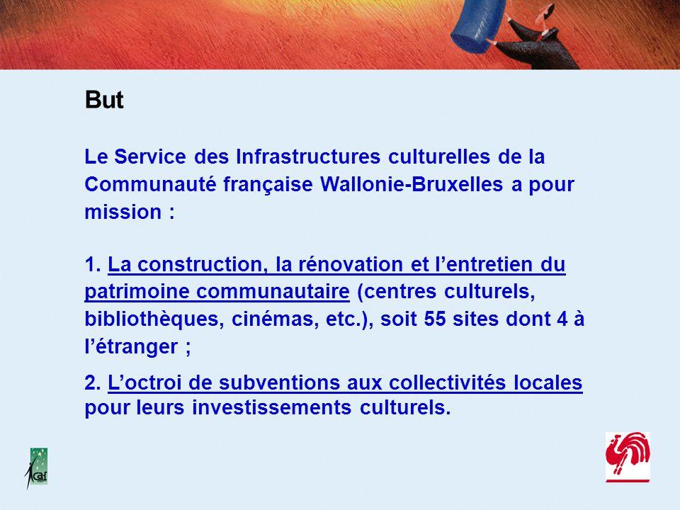 But Le Service des Infrastructures culturelles de la Communauté française Wallonie-Bruxelles a pour mission : 1. La construction, la rénovation et l'e