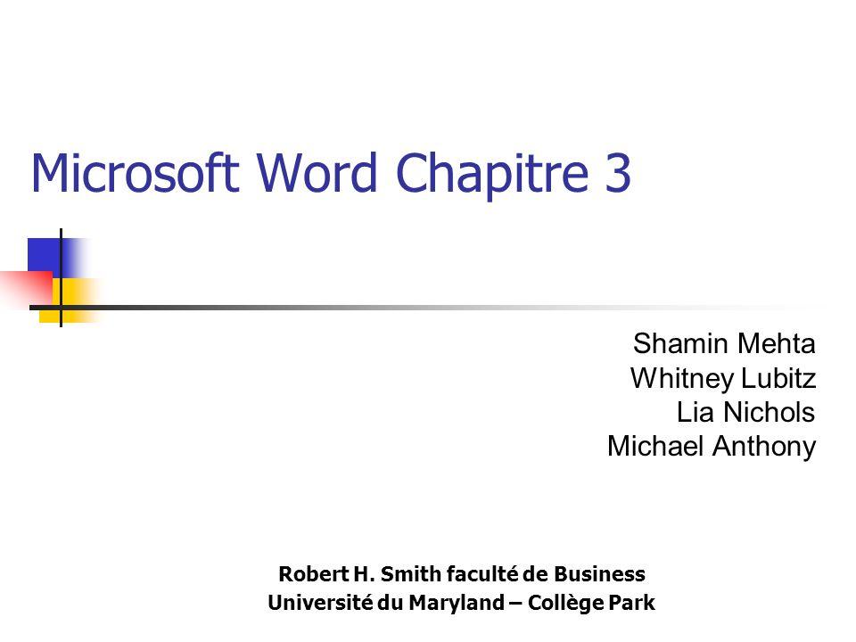Microsoft Word Chapitre 3 Robert H. Smith faculté de Business Université du Maryland – Collège Park Shamin Mehta Whitney Lubitz Lia Nichols Michael An