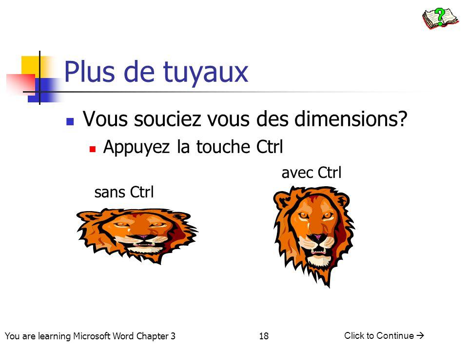 18 You are learning Microsoft Word Chapter 3 Click to Continue  Plus de tuyaux Vous souciez vous des dimensions? Appuyez la touche Ctrl sans Ctrl ave