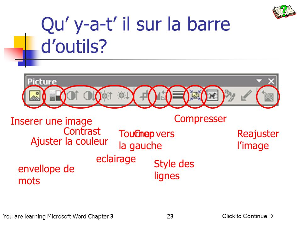 23 You are learning Microsoft Word Chapter 3 Click to Continue  Qu' y-a-t' il sur la barre d'outils? Contrast eclairage CropTourner vers la gauche St