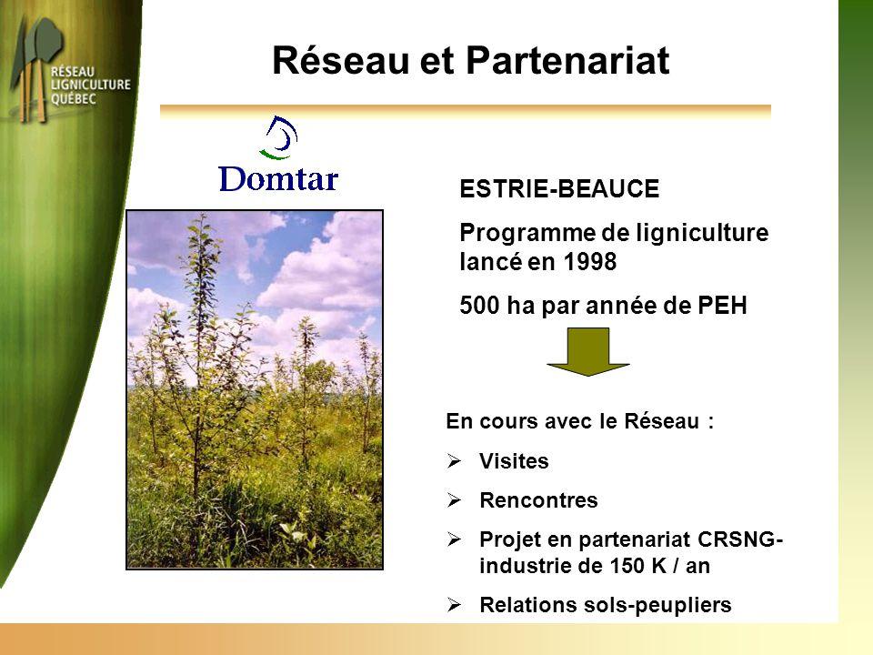 Réseau et Partenariat ESTRIE-BEAUCE Programme de ligniculture lancé en 1998 500 ha par année de PEH En cours avec le Réseau :  Visites  Rencontres  Projet en partenariat CRSNG- industrie de 150 K / an  Relations sols-peupliers