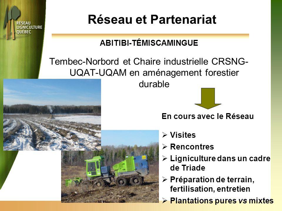 ABITIBI-TÉMISCAMINGUE Tembec-Norbord et Chaire industrielle CRSNG- UQAT-UQAM en aménagement forestier durable Réseau et Partenariat En cours avec le R