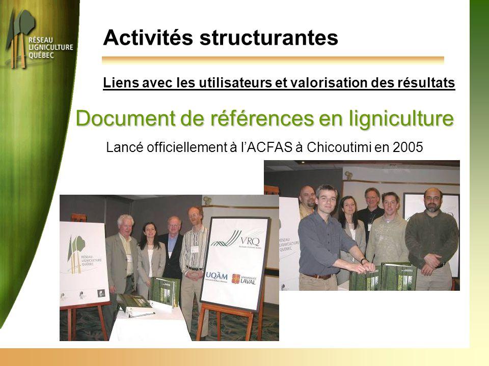 Activités structurantes Document de références en ligniculture Lancé officiellement à l'ACFAS à Chicoutimi en 2005 Liens avec les utilisateurs et valo