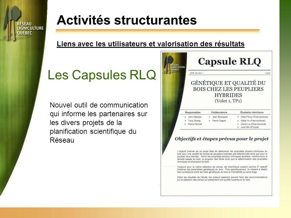 Activités structurantes Les Capsules RLQ Nouvel outil de communication qui informe les partenaires sur les divers projets de la planification scientif