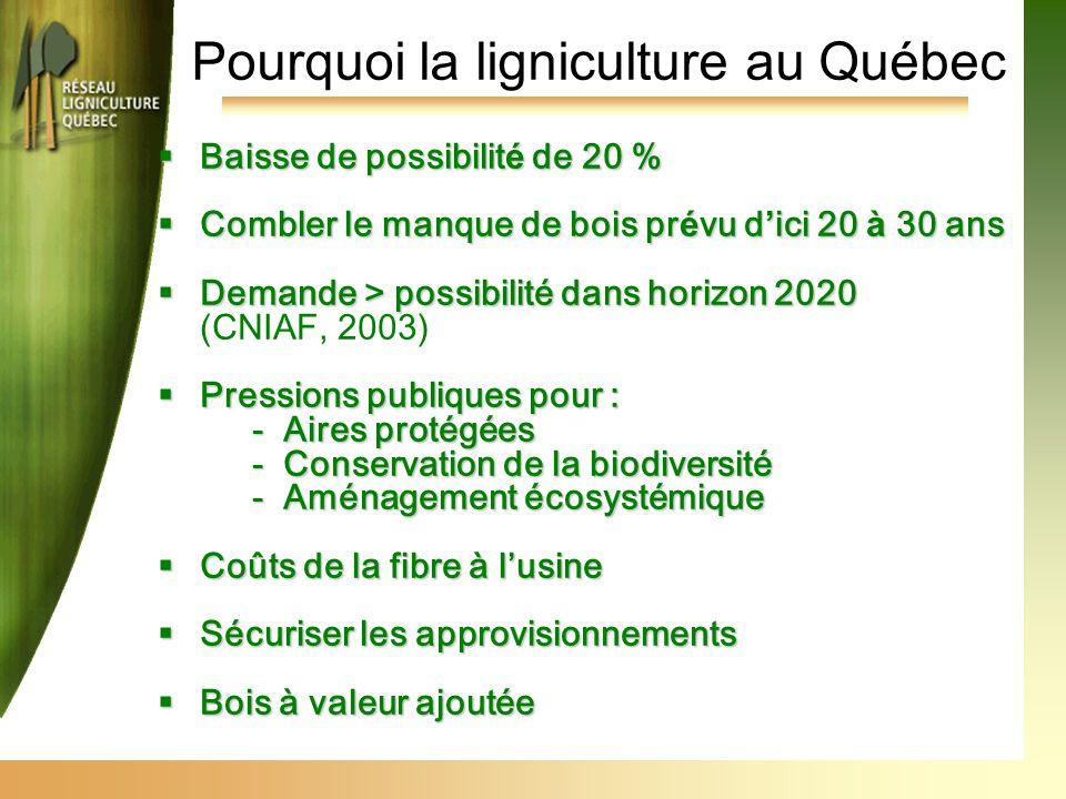Pourquoi la ligniculture au Québec  Baisse de possibilit é de 20 %  Combler le manque de bois pr é vu d ' ici 20 à 30 ans  Demande > possibilité dans horizon 2020 (CNIAF, 2003)  Pressions publiques pour : -Aires protégées -Conservation de la biodiversité -Aménagement écosystémique  Coûts de la fibre à l'usine  Sécuriser les approvisionnements  Bois à valeur ajoutée