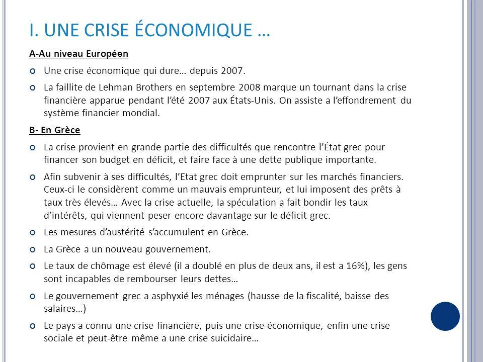 I. UNE CRISE ÉCONOMIQUE … A-Au niveau Européen Une crise économique qui dure… depuis 2007.