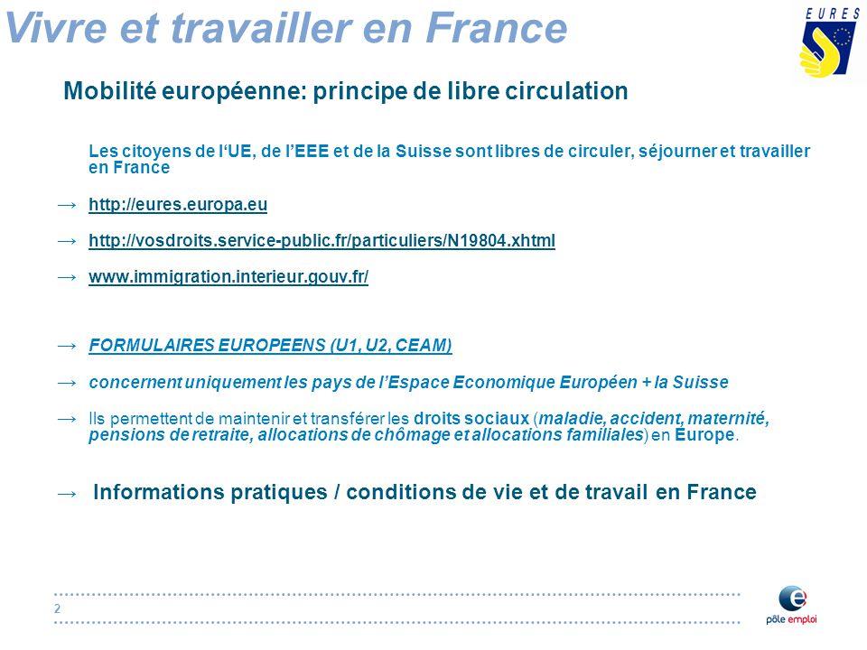 2 Vivre et travailler en France Mobilité européenne: principe de libre circulation Les citoyens de l'UE, de l'EEE et de la Suisse sont libres de circuler, séjourner et travailler en France → http://eures.europa.eu http://eures.europa.eu → http://vosdroits.service-public.fr/particuliers/N19804.xhtml http://vosdroits.service-public.fr/particuliers/N19804.xhtml → www.immigration.interieur.gouv.fr/ www.immigration.interieur.gouv.fr/ → FORMULAIRES EUROPEENS (U1, U2, CEAM) → concernent uniquement les pays de l'Espace Economique Européen + la Suisse → Ils permettent de maintenir et transférer les droits sociaux (maladie, accident, maternité, pensions de retraite, allocations de chômage et allocations familiales) en Europe.