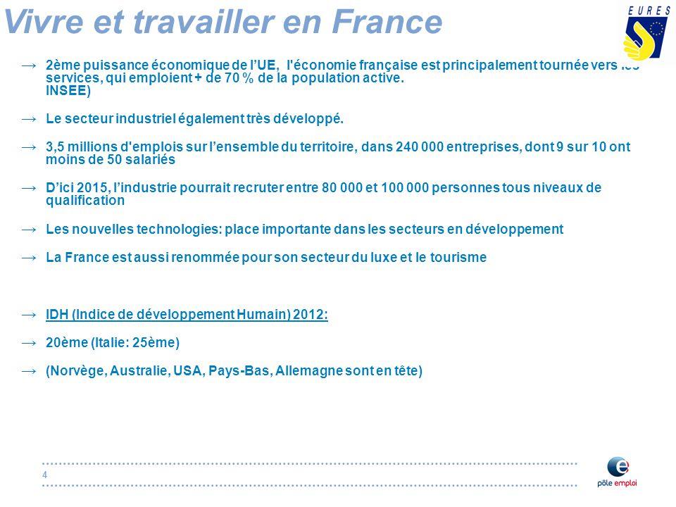 4 Vivre et travailler en France → 2ème puissance économique de l'UE, l économie française est principalement tournée vers les services, qui emploient + de 70 % de la population active.