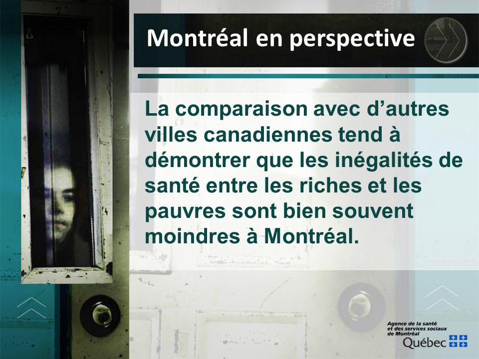 La comparaison avec d'autres villes canadiennes tend à démontrer que les inégalités de santé entre les riches et les pauvres sont bien souvent moindre