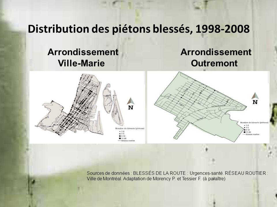 Arrondissement Ville-Marie Arrondissement Outremont Sources de données : BLESSÉS DE LA ROUTE : Urgences-santé. RÉSEAU ROUTIER : Ville de Montréal. Ada