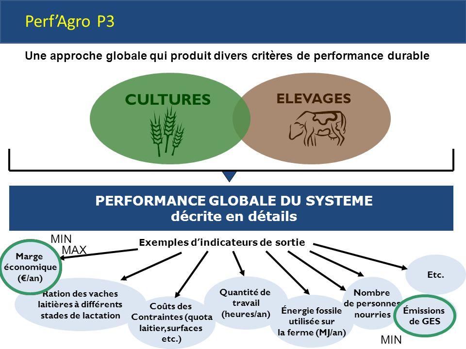 ELEVAGES CULTURES Marge économique (€/an) Ration des vaches laitières à différents stades de lactation Quantité de travail (heures/an) Énergie fossile