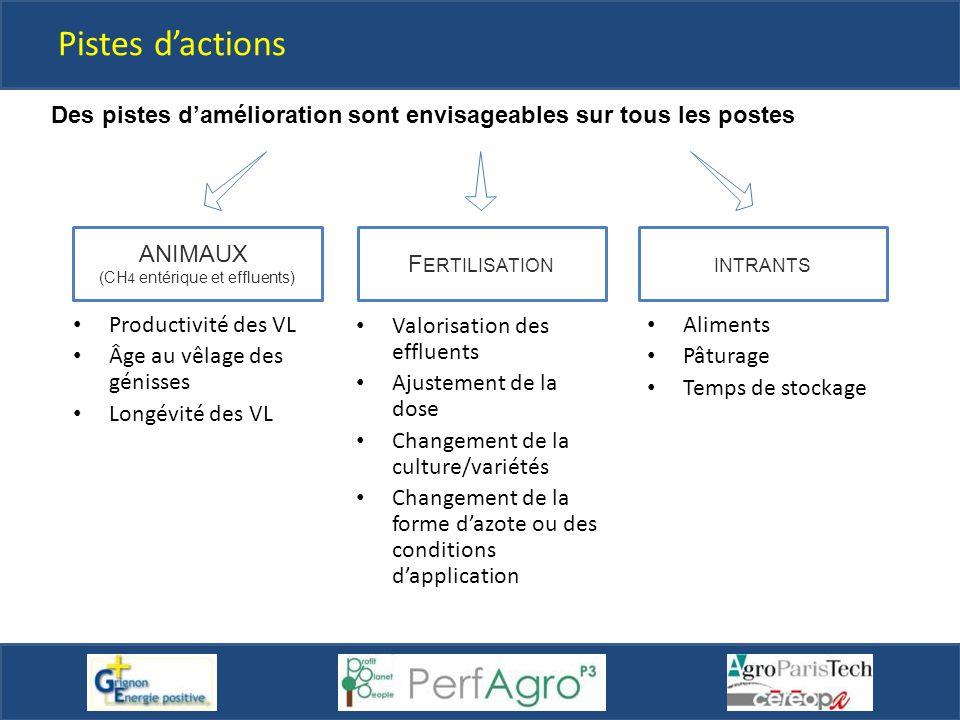 Pistes d'actions Des pistes d'amélioration sont envisageables sur tous les postes F ERTILISATIONINTRANTS ANIMAUX (CH 4 entérique et effluents) Aliment