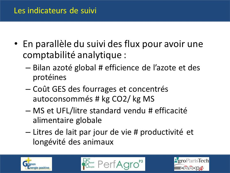 Les indicateurs de suivi En parallèle du suivi des flux pour avoir une comptabilité analytique : – Bilan azoté global # efficience de l'azote et des p
