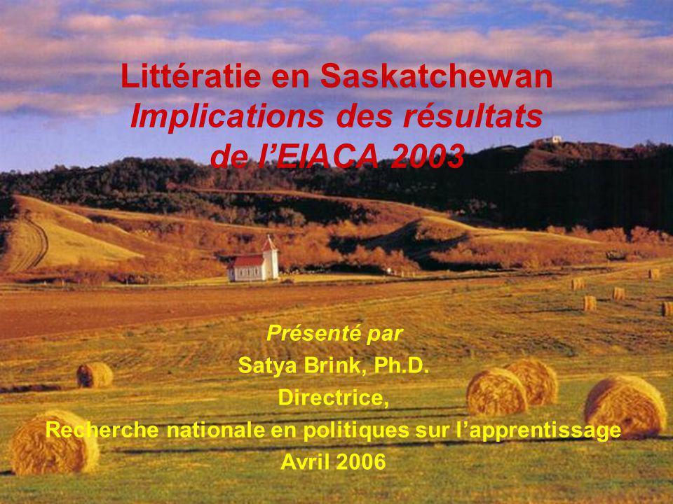 RHDS, Direction générale des politiques sur l apprentissage 1 Littératie en Saskatchewan Implications des résultats de l'EIACA 2003 Présenté par Satya Brink, Ph.D.