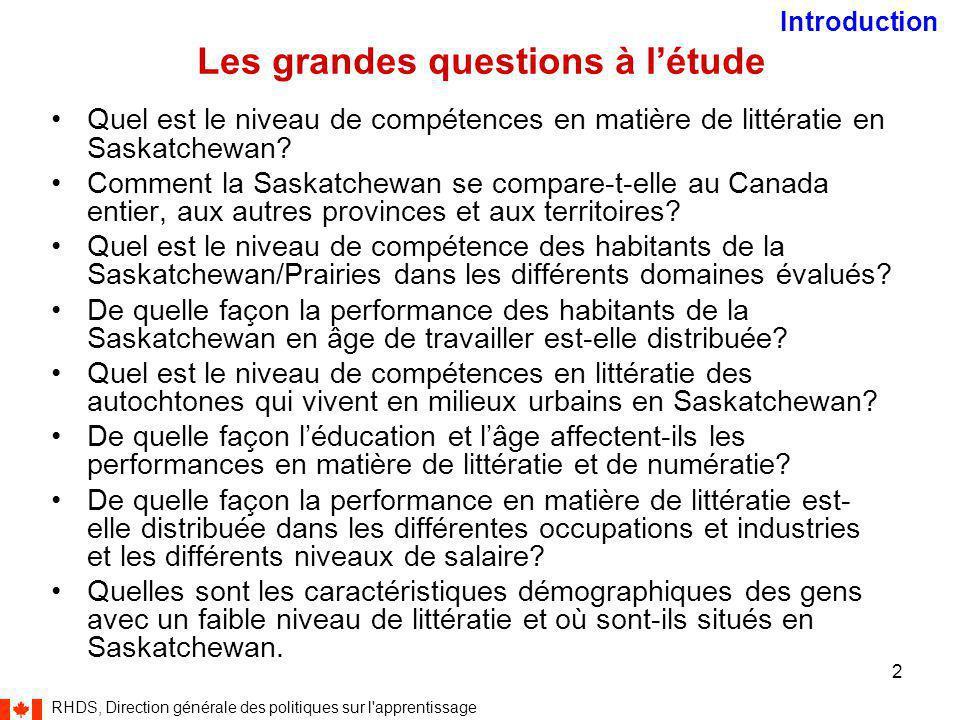RHDS, Direction générale des politiques sur l apprentissage 2 Les grandes questions à l'étude Quel est le niveau de compétences en matière de littératie en Saskatchewan.