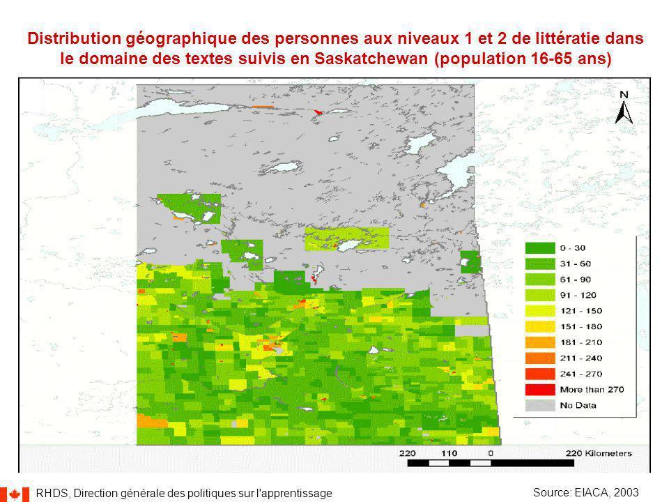 RHDS, Direction générale des politiques sur l apprentissage 38 Distribution géographique des personnes aux niveaux 1 et 2 de littératie dans le domaine des textes suivis en Saskatchewan (population 16-65 ans) Source: EIACA, 2003