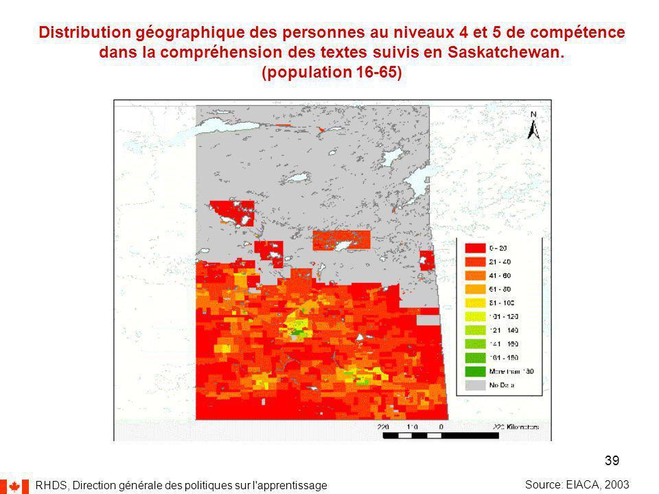 RHDS, Direction générale des politiques sur l apprentissage 39 Distribution géographique des personnes au niveaux 4 et 5 de compétence dans la compréhension des textes suivis en Saskatchewan.
