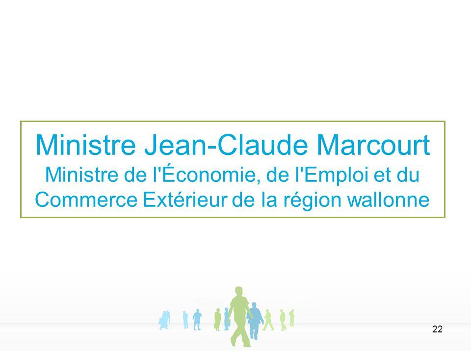 22 Ministre Jean-Claude Marcourt Ministre de l'Économie, de l'Emploi et du Commerce Extérieur de la région wallonne