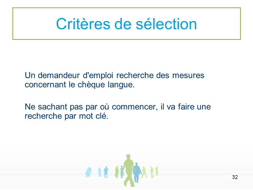 32 Un demandeur d'emploi recherche des mesures concernant le chèque langue. Ne sachant pas par où commencer, il va faire une recherche par mot clé. Cr