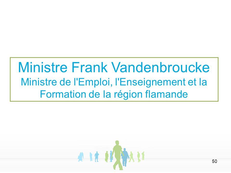 50 Ministre Frank Vandenbroucke Ministre de l'Emploi, l'Enseignement et la Formation de la région flamande