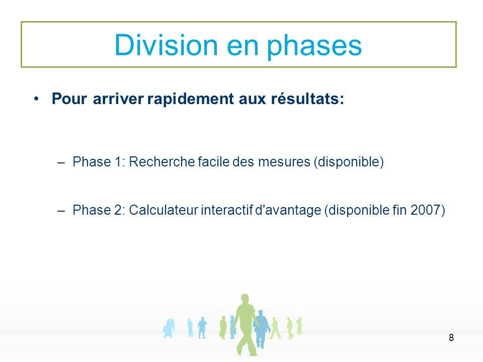 8 Pour arriver rapidement aux résultats: –Phase 1: Recherche facile des mesures (disponible) –Phase 2: Calculateur interactif d'avantage (disponible f