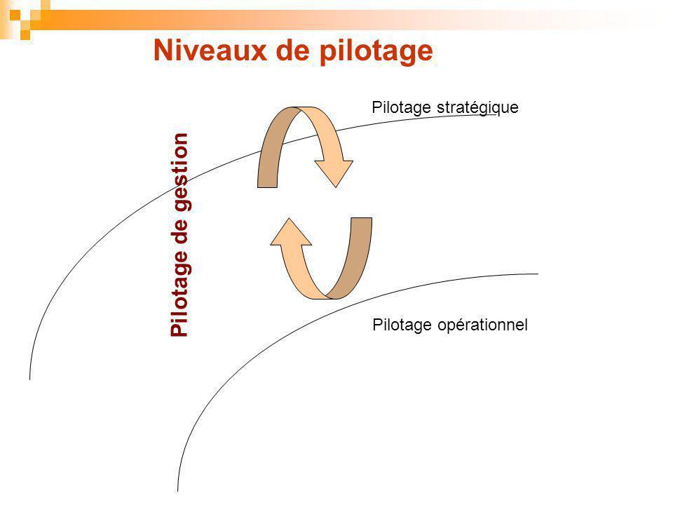 Pilotage opérationnel Pilotage de gestion Pilotage stratégique Niveaux de pilotage