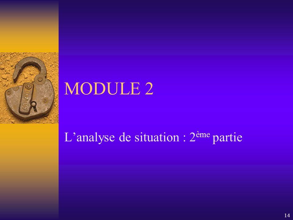 14 MODULE 2 L'analyse de situation : 2 ème partie