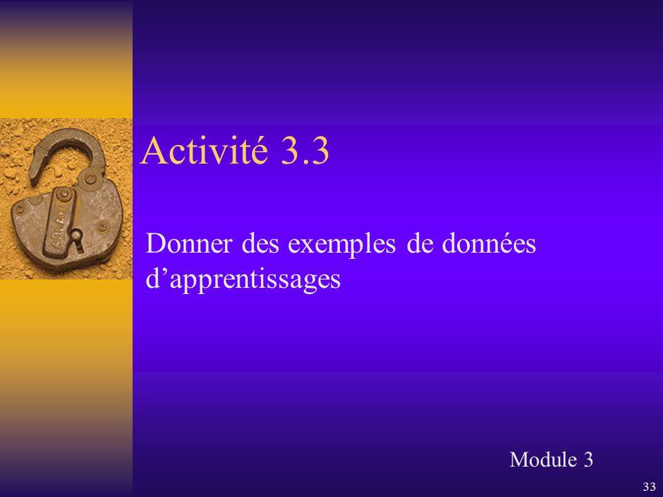 33 Activité 3.3 Donner des exemples de données d'apprentissages Module 3