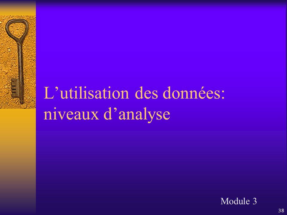 38 L'utilisation des données: niveaux d'analyse Module 3