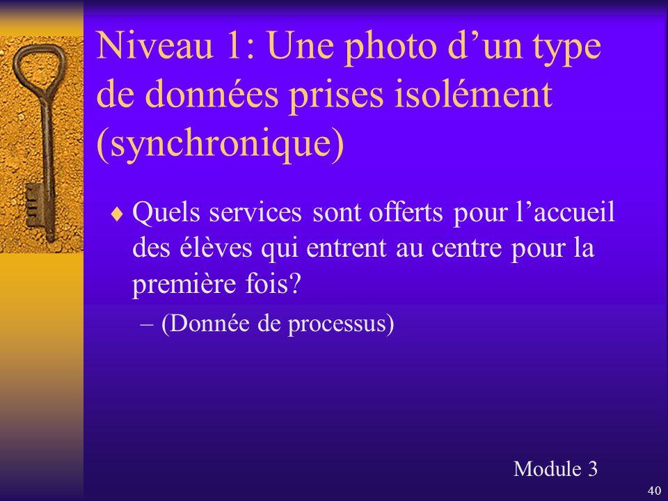 40 Niveau 1: Une photo d'un type de données prises isolément (synchronique)  Quels services sont offerts pour l'accueil des élèves qui entrent au cen