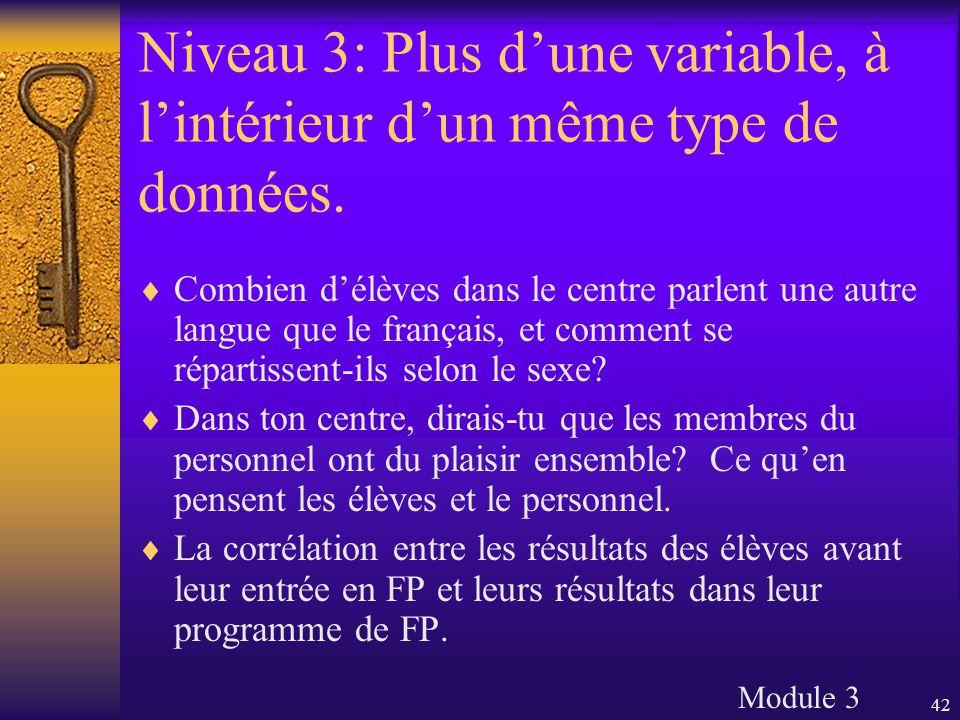 42 Niveau 3: Plus d'une variable, à l'intérieur d'un même type de données.  Combien d'élèves dans le centre parlent une autre langue que le français,