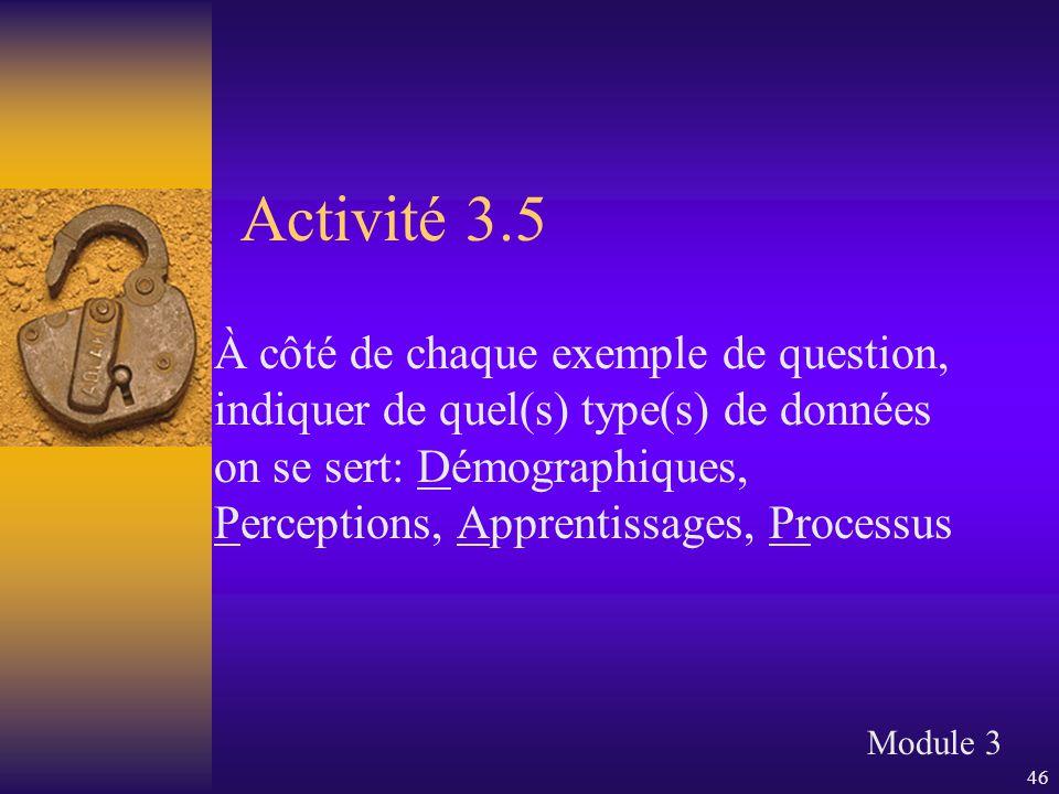 46 Activité 3.5 À côté de chaque exemple de question, indiquer de quel(s) type(s) de données on se sert: Démographiques, Perceptions, Apprentissages,