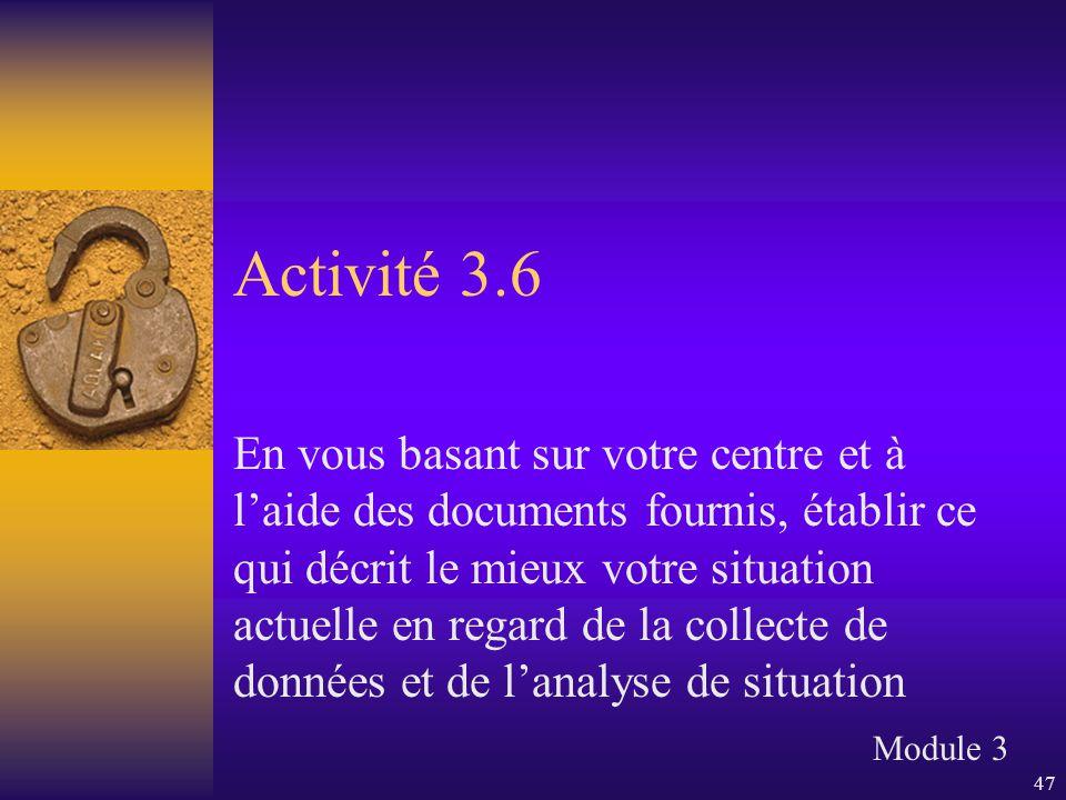 47 Activité 3.6 En vous basant sur votre centre et à l'aide des documents fournis, établir ce qui décrit le mieux votre situation actuelle en regard d