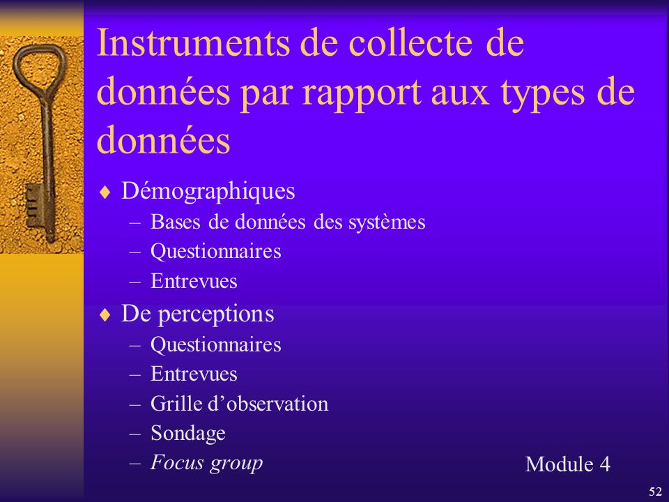 52 Instruments de collecte de données par rapport aux types de données  Démographiques –Bases de données des systèmes –Questionnaires –Entrevues  De perceptions –Questionnaires –Entrevues –Grille d'observation –Sondage –Focus group Module 4