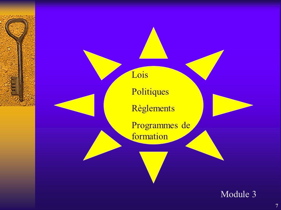 8 Planification stratégique de la CS Indicateurs nationaux Module 1