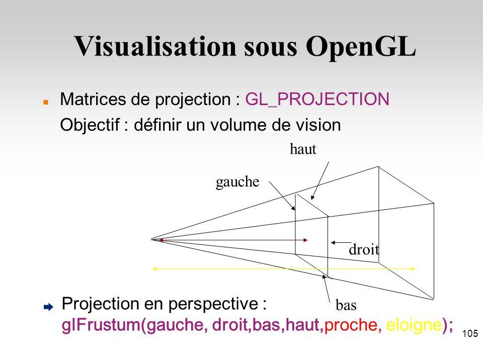 Matrices de projection : GL_PROJECTION Objectif : définir un volume de vision Projection en perspective : glFrustum(gauche, droit,bas,haut,proche, eloigne); haut gauche droit bas Visualisation sous OpenGL 105