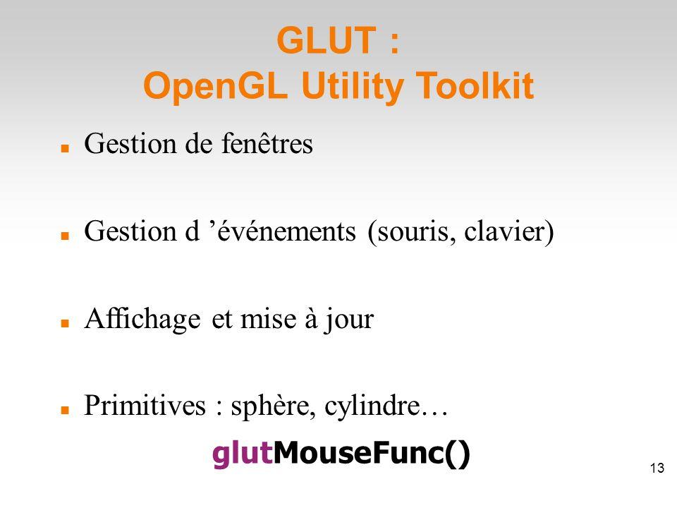 GLUT : OpenGL Utility Toolkit Gestion de fenêtres Gestion d 'événements (souris, clavier) Affichage et mise à jour Primitives : sphère, cylindre… glutMouseFunc() 13
