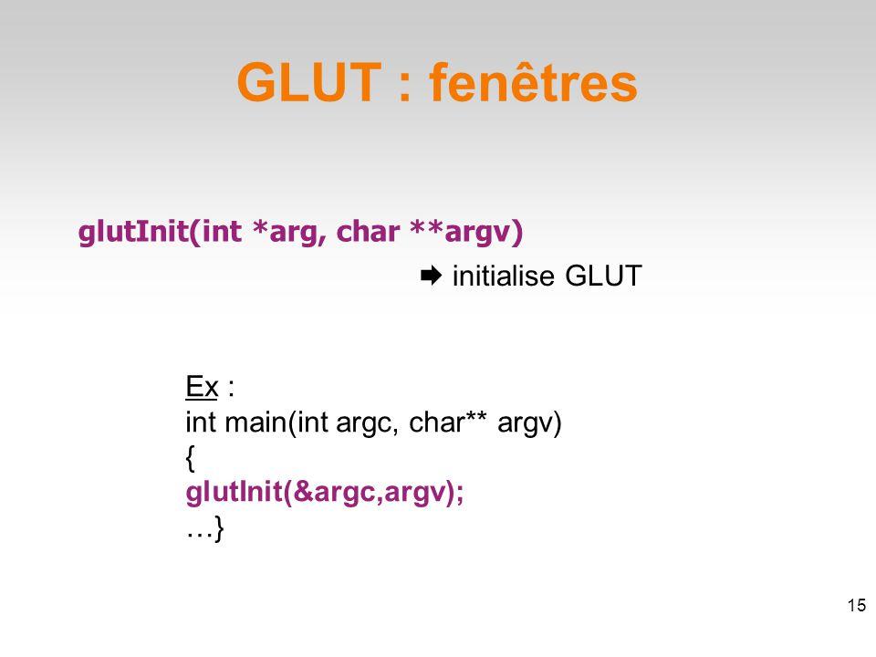 GLUT : fenêtres glutInit(int *arg, char **argv)  initialise GLUT 15 Ex : int main(int argc, char** argv) { glutInit(&argc,argv); …}